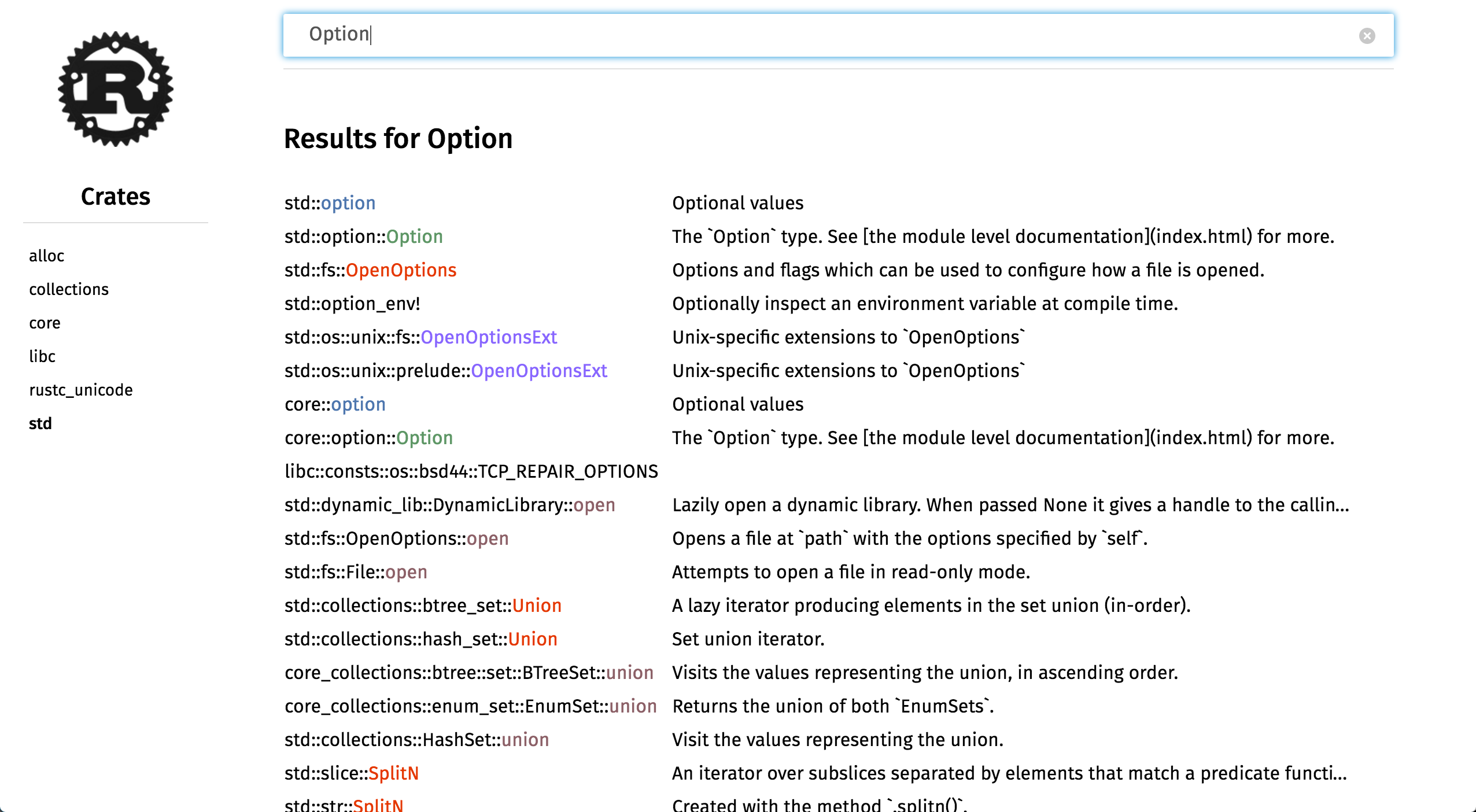 Search results for Option in Rust's API documentation